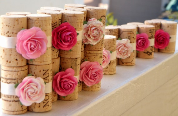 Wedding Place Card Holders in Peony Pink - Vineyard Collection, Set of 10, Repurposed Wine Corks, Reception or Bridal Shower