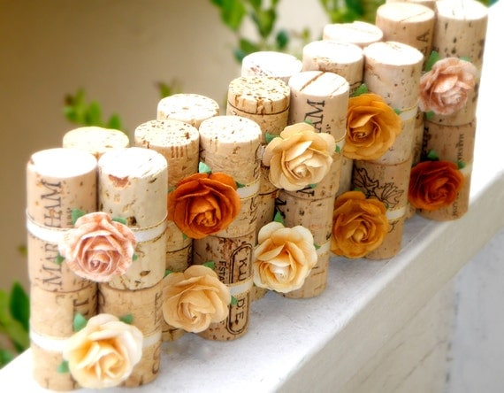 Mustard Yellow Wedding Place Card Holders in Sunshine Harvest, Set of 10, Repurposed Wine Corks