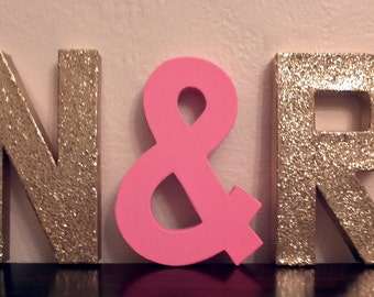 FEATURED in REAL SIMPLE - Glitter Block Letters - Monogram or Initials - Gold or Silver or neon - 2 glitter letters and one solid ampersand