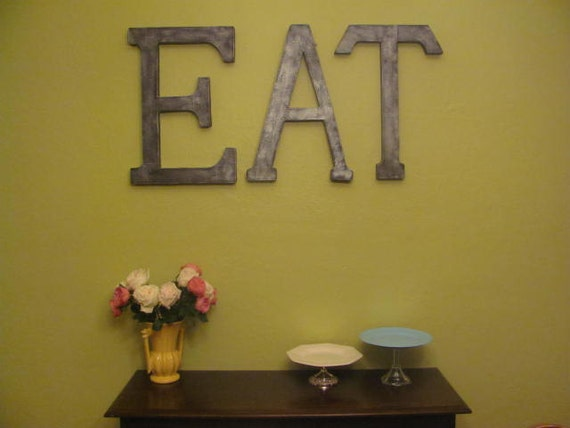 "Faux Metal Letters - 23.5"" EAT Sign"