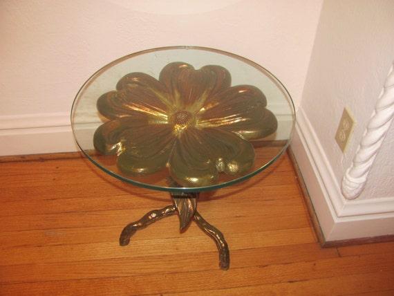 Hollywood REGENCY Mid Century Modern Gilt Flower Table