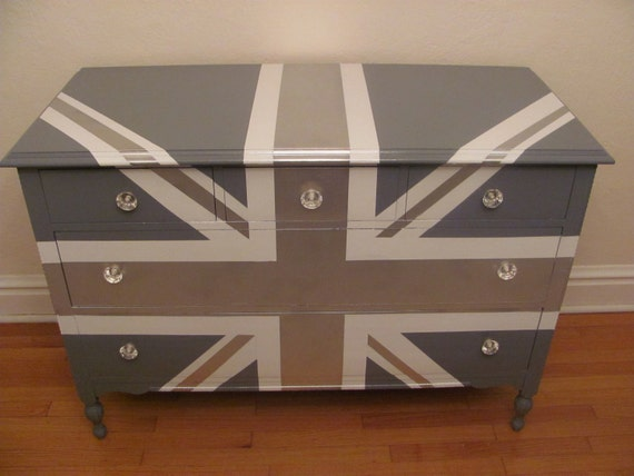 ReLoved and UpCycled - Stunning Antique Union Jack Silver Grey and White High Gloss Dresser