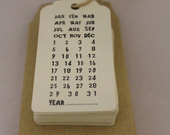 Custom Made or DIY Hand Stamped Save the Date Tags (Pack of 85)