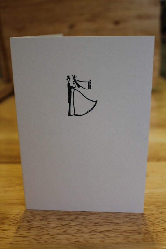 Hand Stamped Bride and Groom Wedding Card