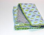 Minky Dragin' Blanket - lime green mod