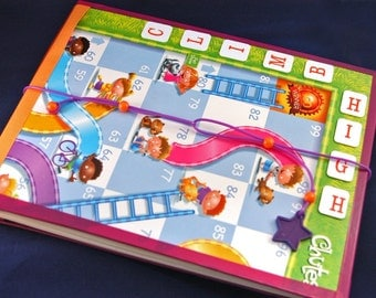 Kids Sketchbook Upcycled from Chutes and Ladders Game, with Refillable Pages