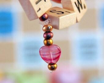 Sweetheart Wooden Bracelet Upcycled from Rare Mini Scrabble Tiles