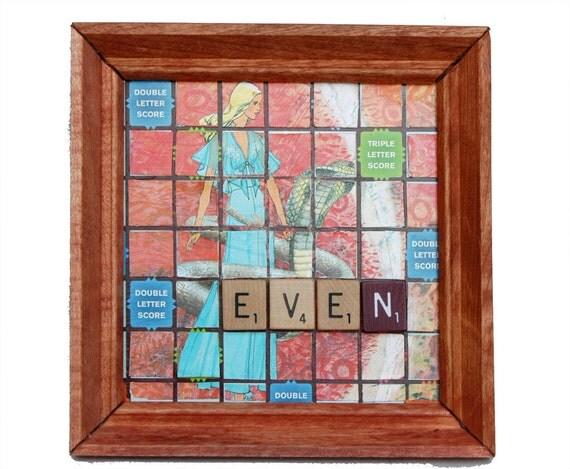 Backyard Scrabble Tiles : Scrabble Board Wall Art with Vintage Fashion Figure, Animal, Tiles