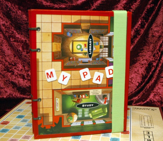 Clue Game Board Blank Book, Coptic Stitched, Collaged