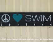 Peace Love Swim Wood Ribbon Display Hanger - Customization & Personalization Available