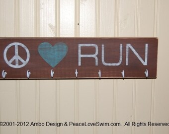 Peace Love Run - Marathon Medal Display for Runners