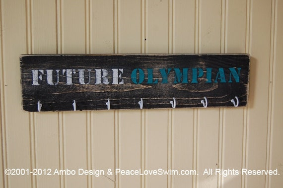 Personalized Wood Wall Display with Hooks for Medals and/or Ribbons -  Customization & Personalization Available