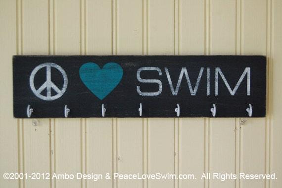 Peace Love Swim Wood Ribbon Display Hanger - Customization & Personalization Available