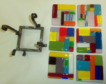SALE 40% OFF!!! Set of  glass coasters with stand handmade by dalit glass
