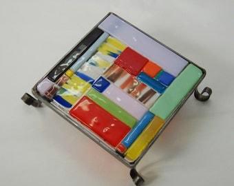 SALE ! Decorative glass hot-pot holders handmade by dalit glass