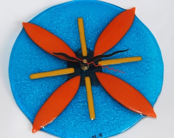 SALE  Blue Wall Clock handmade by dalit glass
