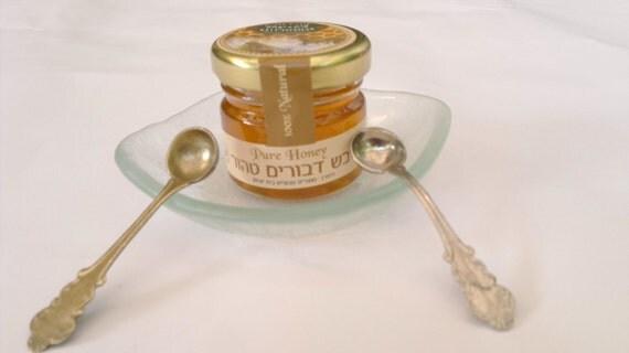 ROSH HASHANAH bowl honey&spoon handemade by dalit glass
