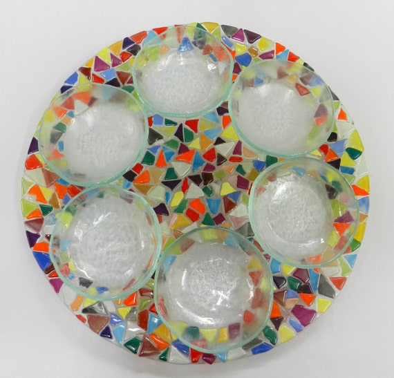 Round  plate&6 small bowls fused glass handmade by DALIT-GLASS dalitglass