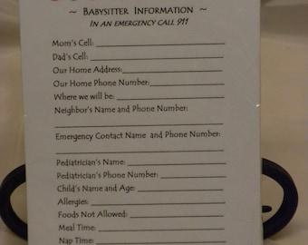 Babysitter Information Note Pad