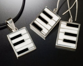 Piano keys silver jewelry set  pendant and earring Set music recycled handmade instrument gift
