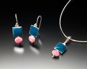 AKA sorority pink and green sterling silver geometric drop earring and pendant set