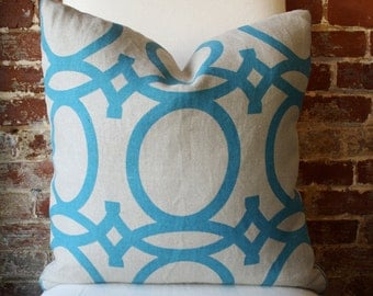 "SALE! Turquoise Geometric - Global - Hand printed on Natural Linen - Pillow Cover - 20""x20"""