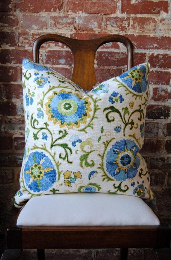 FINAL SALE - Sky Blue - Suzani - Pillow Cover - 14 X 18 in LUMBAR - Designer Pillow - Decorative Pillow - Throw Pillow