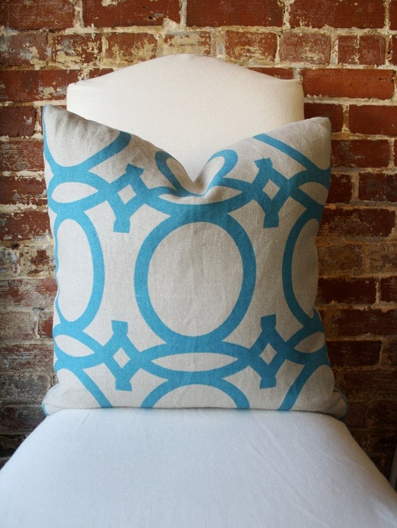 """Turquoise Geometric - Global - Hand printed on Natural Linen - Pillow Cover - 20""""x20"""""""