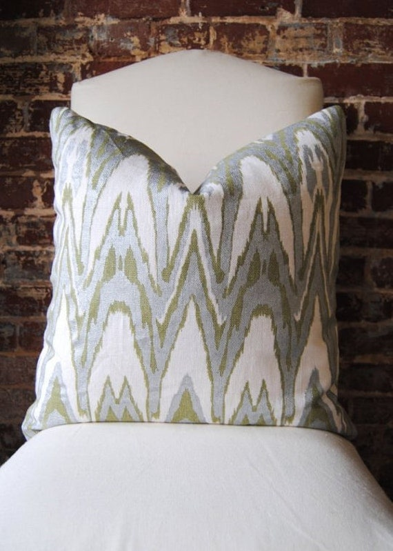 "Ikat - Green and Silver Hand Print on Natural Linen - Pillow Cover - 20""x20"""