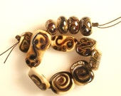 Primitive Lampwork Glass Beads Ivory and Reactive Glass