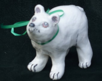 Polar Bear handmade in USA from a lump of clay no molds ever used. Or a custom critter