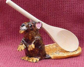 Beaver Spoon Rest, jewelry,change or phone holder, tea bag holder.Handmade in US from a Lump of Clay and fired in my kiln