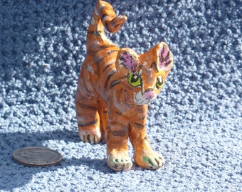 Miniature orange striped tabby cat totem handmade in the USA from a lump of clay