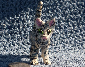 Grey tabby cat Totem hand sculpted in USA from a lump of clay fired in a kiln CUSTOM FUR friend orders welcome!