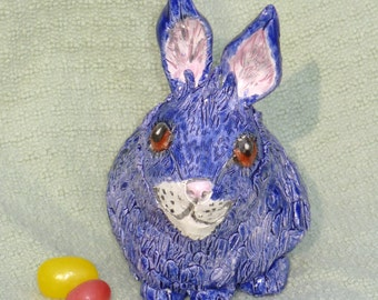 Cobalt Blue Bunny Lucky Rabbit Handmade in USA  from a lump of clay ooak
