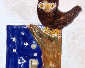 Owl Switch plate hand made in USA from a lump of clay. Custom orders welcome ooak