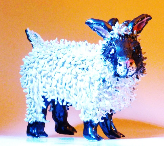 White Sheep hand made in USA  from a lump of clay. No Molds ever used. My art is in 5 galleries
