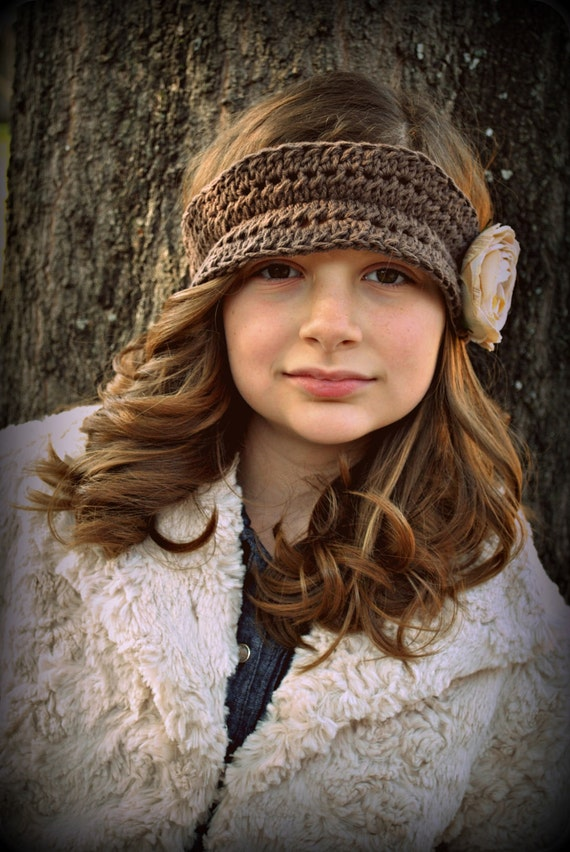 Girls Vintage Style Crochet Headband Crochet Ear Warmer Head Wrap with Cream Fabric Flower