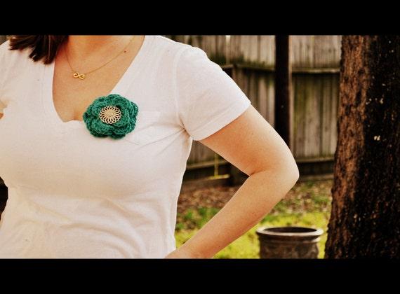 Teal Crochet Flower Pin / Brooch Handmade Perfect Fashion Accessory
