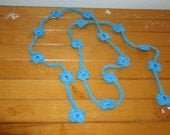 Teal Turquoise Flower Cotton Crocheted Lariat