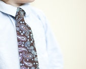 Toddler Neck Tie - Brown and Blue Paisley