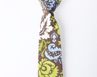 Toddler Tie - Brown with Green, Blue, and White Floral Pattern