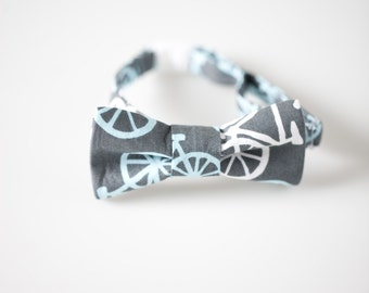 Toddler Bowtie - Gray with Bicycles