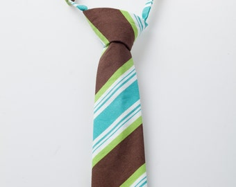 Boy Tie - Brown, Green, and Teal Stripes