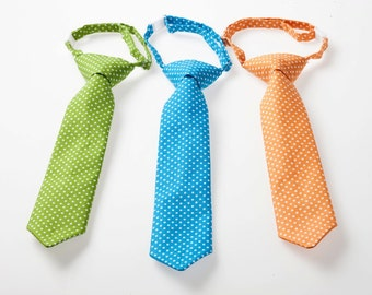 Little Boy Necktie - Green, Blue, or Orange Swiss Dot