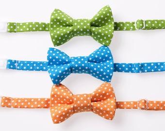 Little Boy Bow Tie - Green, Blue, or Orange Swiss Dot