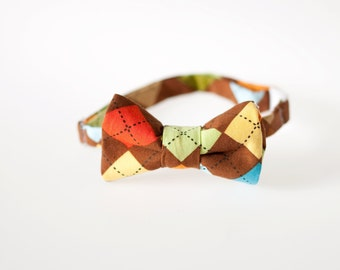 Toddler Bow Tie - Brown Argyle