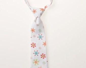 Toddler Neck Tie - White with Snowflakes