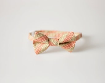 Baby Bowtie - Cream with Green and Red Stripes