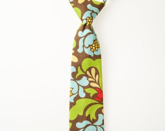 Little Boy Neck Tie - Blue and Green Floral